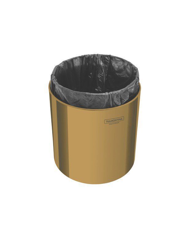 LIXEIRA ÚTIL GOLD INOX POLIDO C/ TAMPA 5 LT - TRAMONTINA