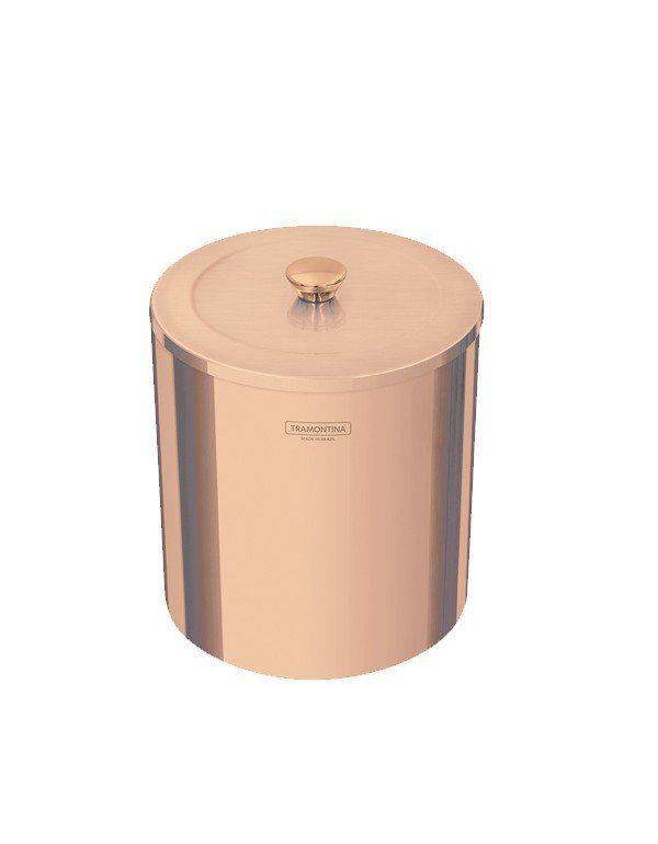LIXEIRA ÚTIL ROSE GOLD INOX POLIDO C/TAMPA 5 LT - TRAMONTINA