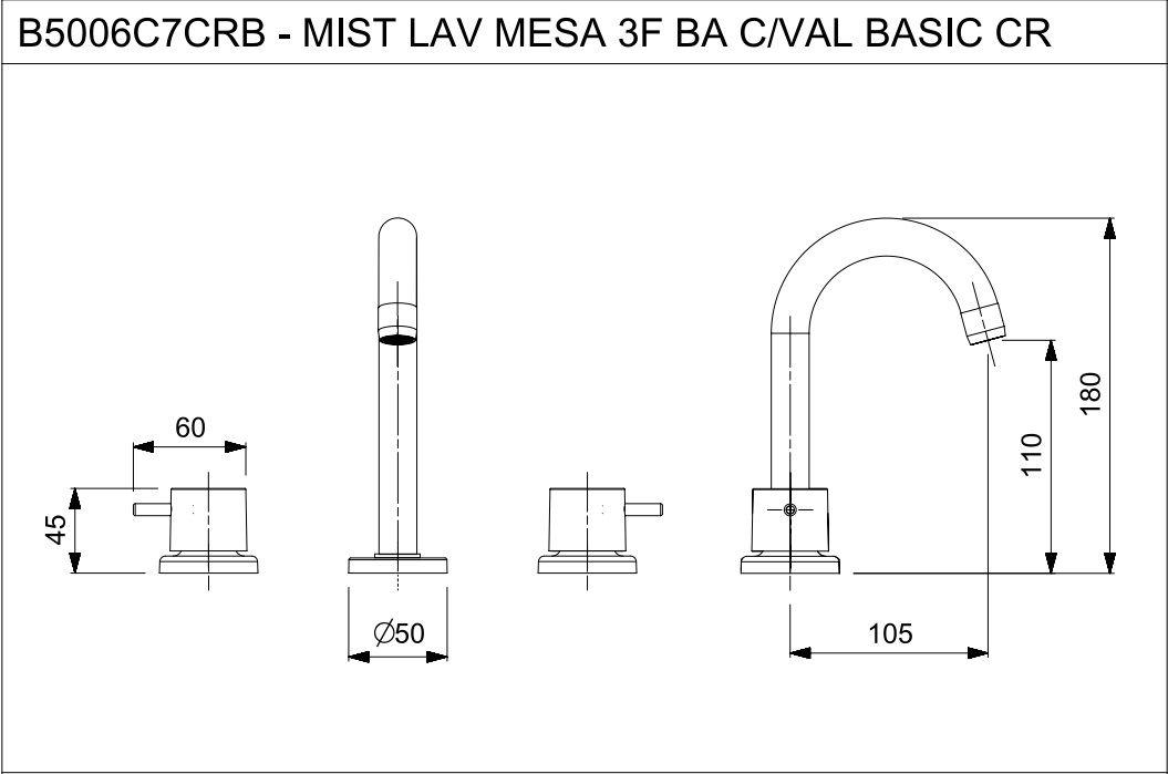 MISTURADOR DE LAVATÓRIO MESA BASIC CROMADO B5006C7CRB - CELITE