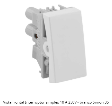 MÓDULO INTERRUPTOR SIMPLES BRANCO 10A 250V 30101-30 S35 / S30 - SIMON