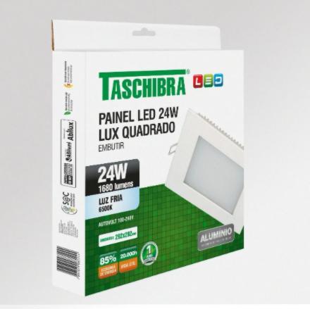 PAINEL DE LED LUX EMBUTIR SLIM QUADRADO 24W 6500K LUZ BRANCA - TASCHIBRA