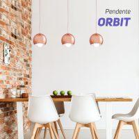 PENDENTE ORBIT COBRE 1 LÂMPADA - STARTEC