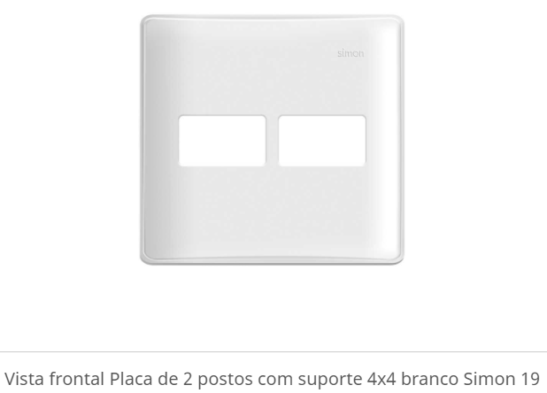 PLACA DE 02 POSTOS COM SUPORTE 4X4 BRANCO S19 - SIMON