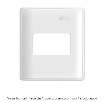 PLACA DE 1 POSTO P/ CAIXA DE SOBREPOR BRANCO S19 - SIMON