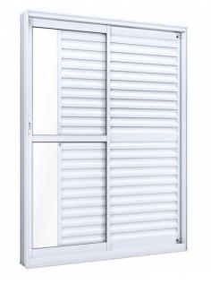 Porta balcão lateral de alumínio com 3 folhas 215X160X12 - LUCASA
