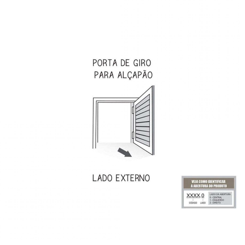 PORTA DE ALUMÍNIO DIREITA PARA ALÇAPÃO COM VENTILAÇÃO 80x60CM - LUCASA