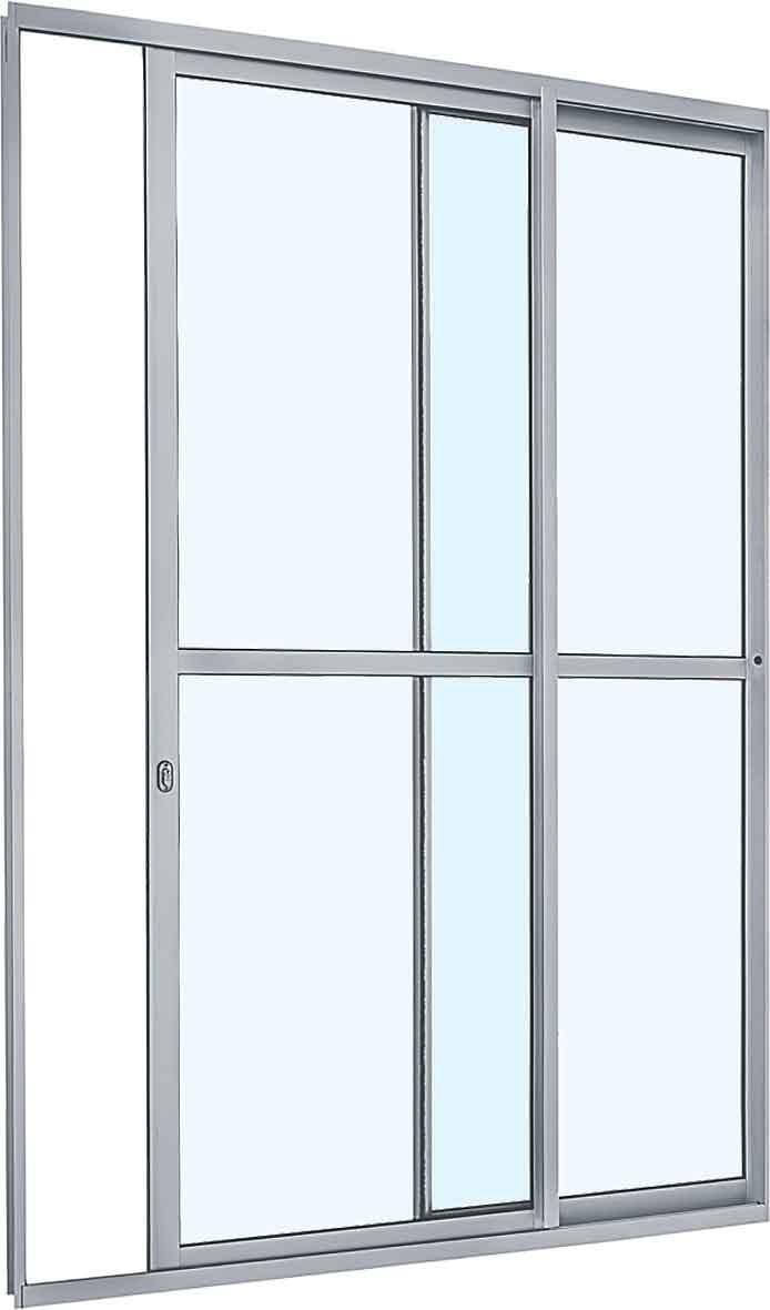 Porta de Correr com Divisão Central Alumínio - 2 Folhas - Branco