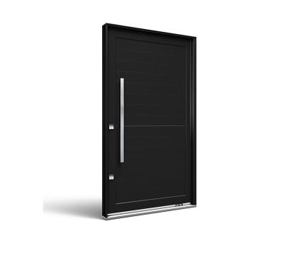 Porta Pivotante Preto Fosco sem Friso 225X130X12 - LUCASA