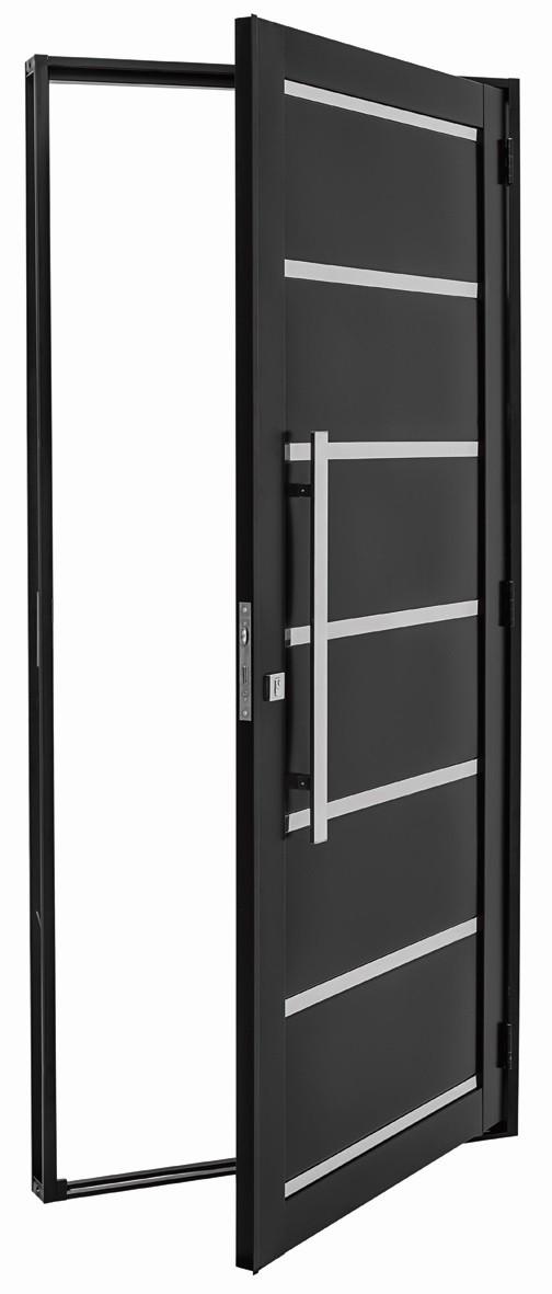 Porta Social de Abrir com Lambris e Frisos Aço 217 cmX88Xcm08 cm- Preto