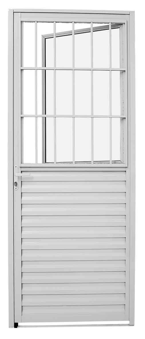Porta Social de Abrir com Postigo Alumínio 215X87 CM - Branco