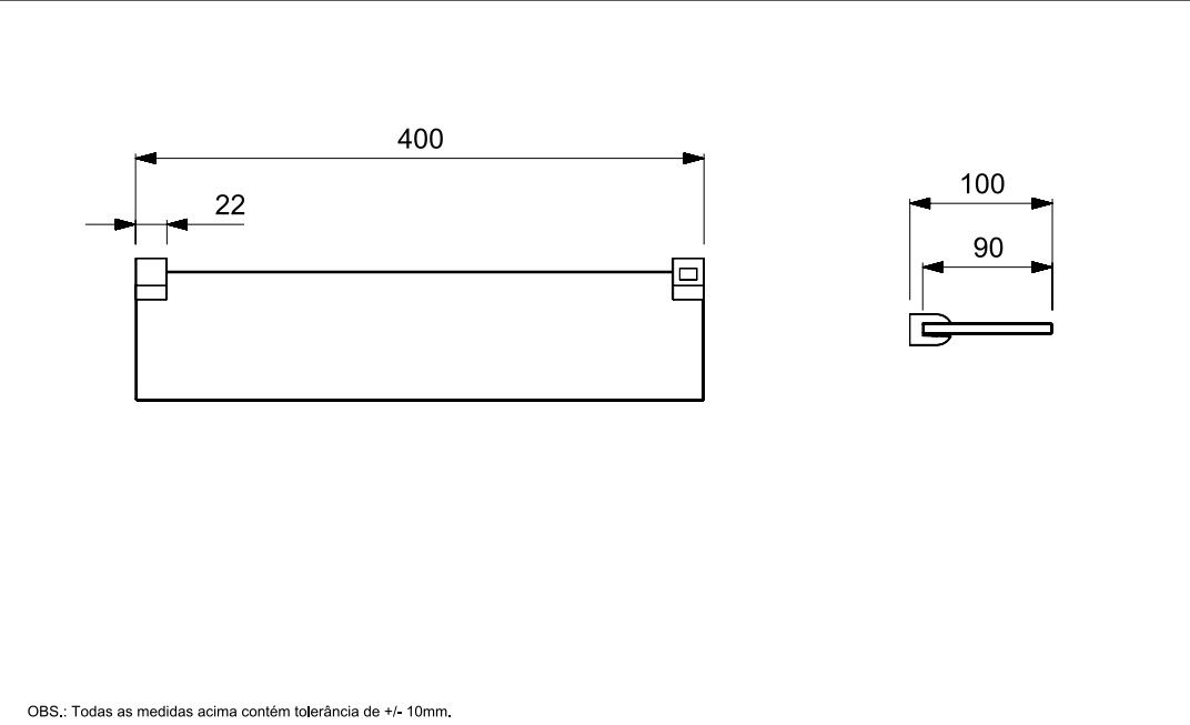 PRATELEIRA UP 400MM CROMADO B5021CLCR0 - CELITE