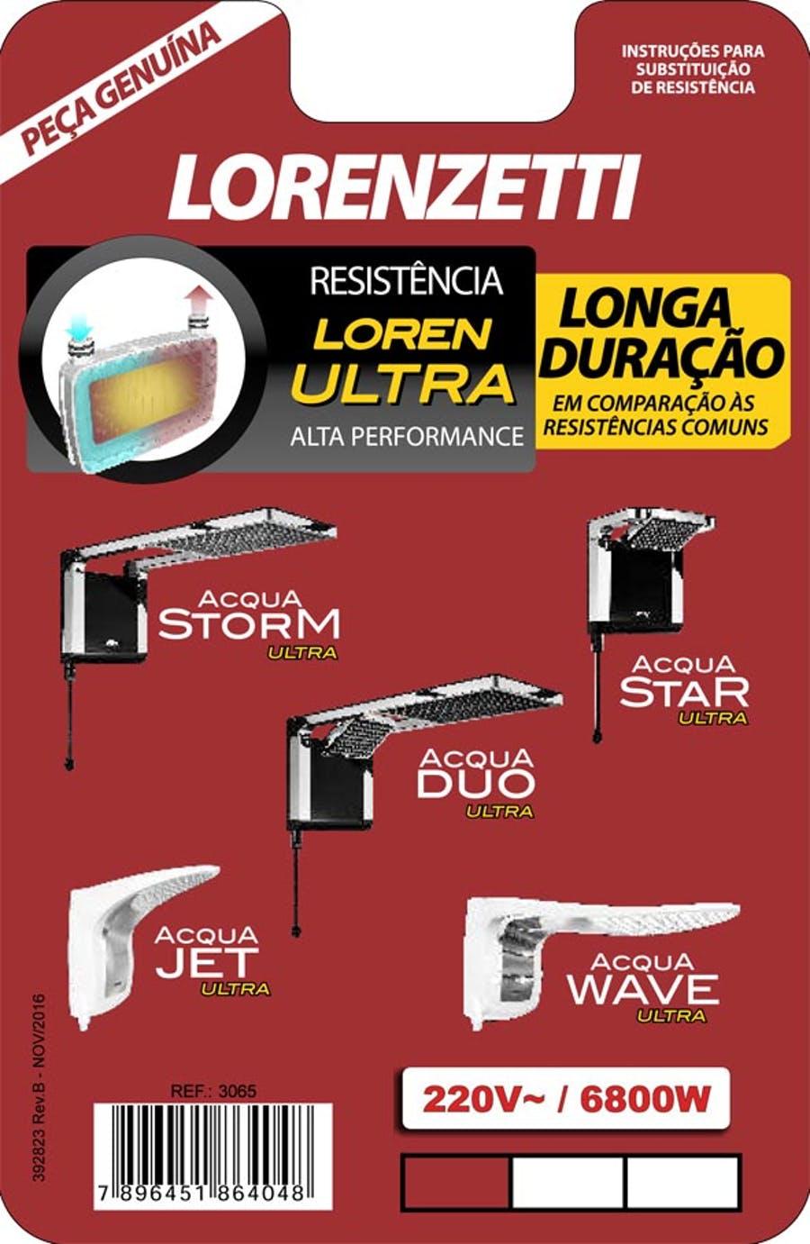 RESISTÊNCIA ACQUA ULTRA/FLEX/STAR/JET/STORM/WAVE 220V 6800W - LORENZETTI