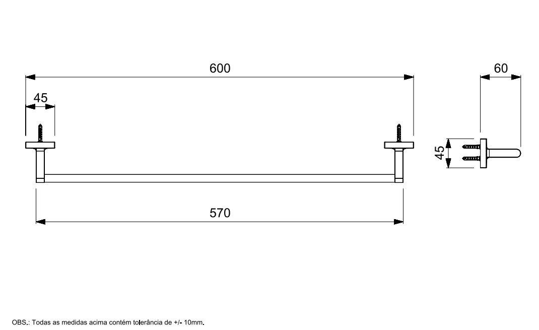TOALHEIRO BARRA UP CROMADO B5018CLCR0 - CELITE