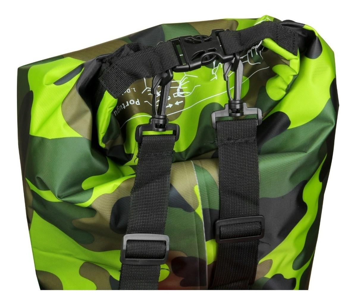 Bolsa Estanque Impermeável Albatroz Fishing Camp Bag Camuflada Verde 30 Litros