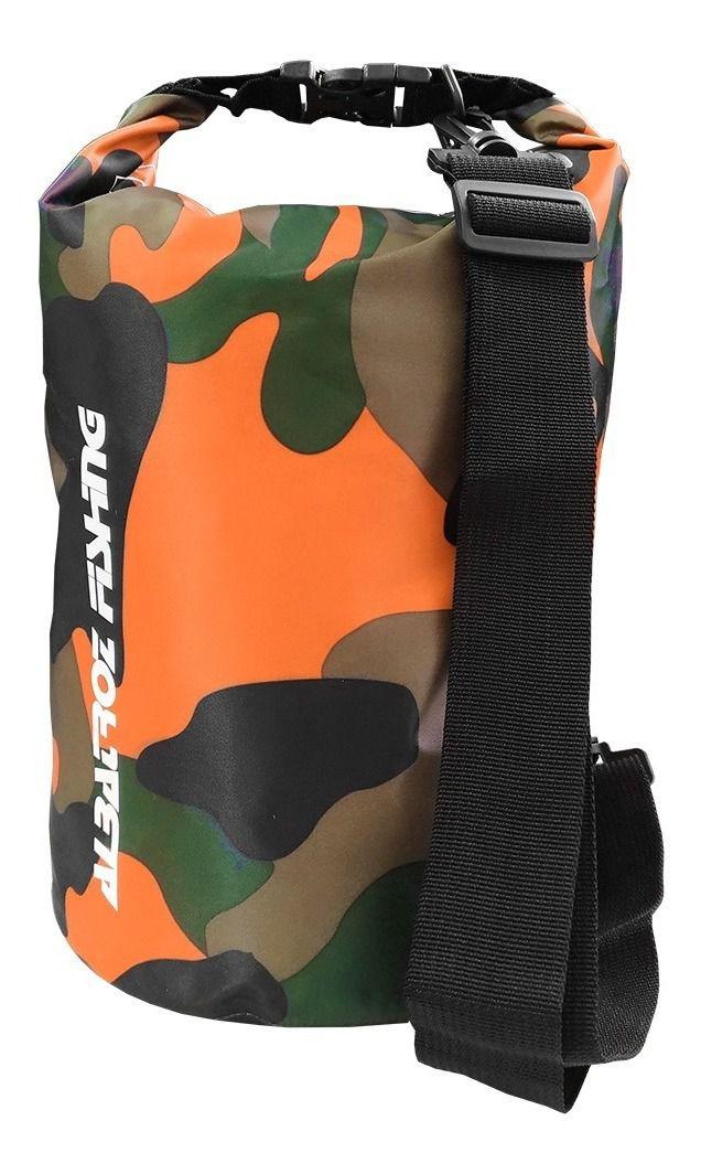 Bolsa Impermeável Albatroz Fishing Camp Bag Camuflada Laranja 15 Litros