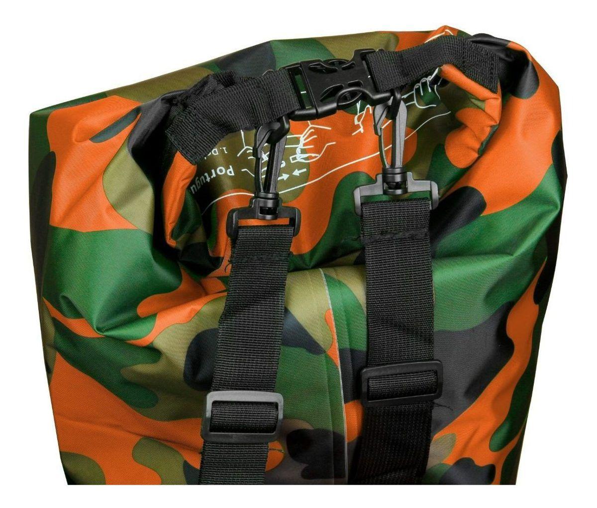 Bolsa Impermeável Albatroz Fishing Camp Bag Camuflada Laranja 30 Litros