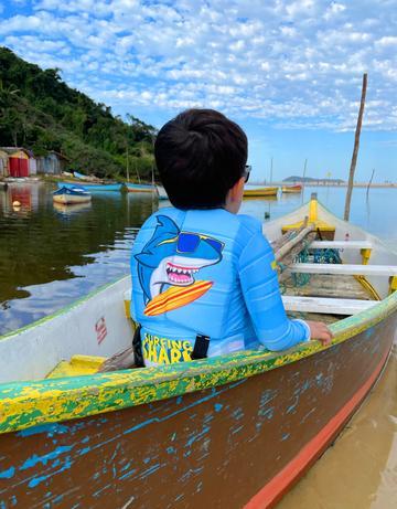 Camisa Flutuadora Infantil Vopen Float Manga Longa - Surfing Shark