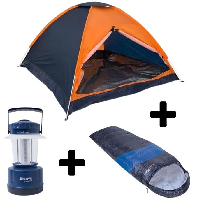 Kit Camping Nautika Barraca Panda 2P + Lampião + Saco de Dormir