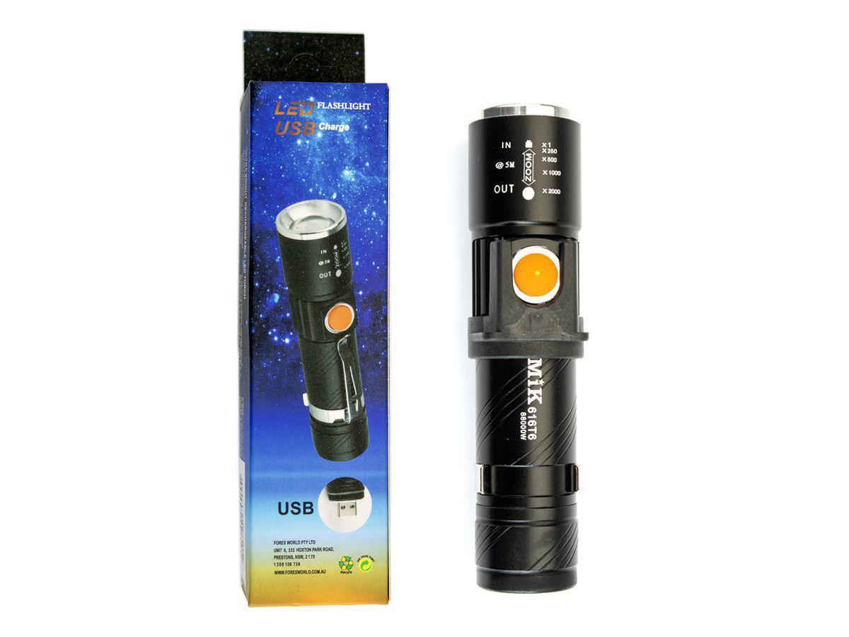 Lanterna de Mão Recarregável USB 3 Modos de Iluminação
