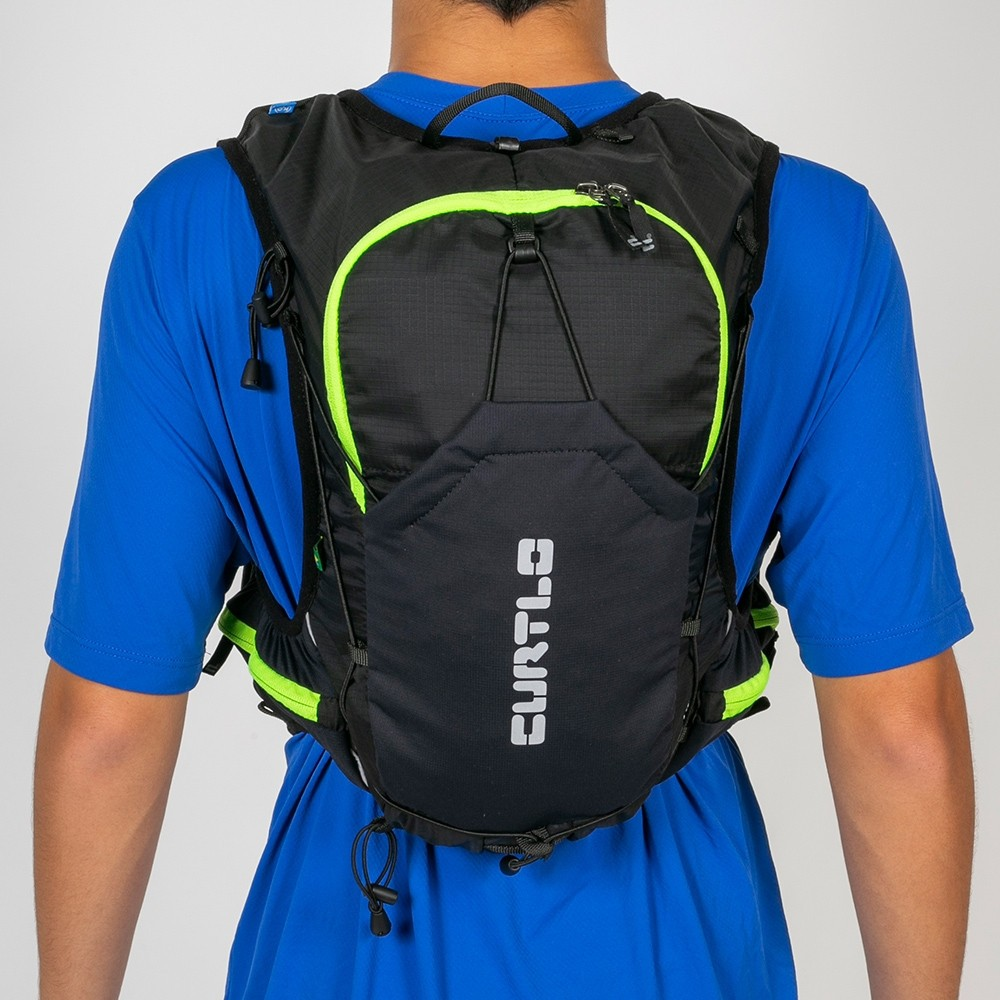Mochila Colete Curtlo X-Skin Ultra 10L C/ Bolsa de Hidratação - Preto/Verde