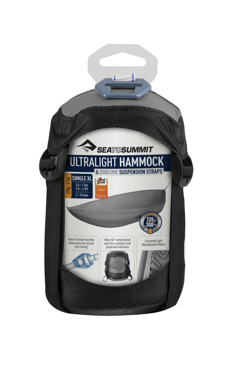 Rede De Descanso Sea To Summit Hammock Set UltraLight Solteiro XL - Cinza