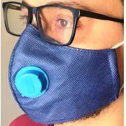 Kit 10 Máscaras Proteção TNT DUPLO COM RESPIRADOR AZUL + CLIP NASAL