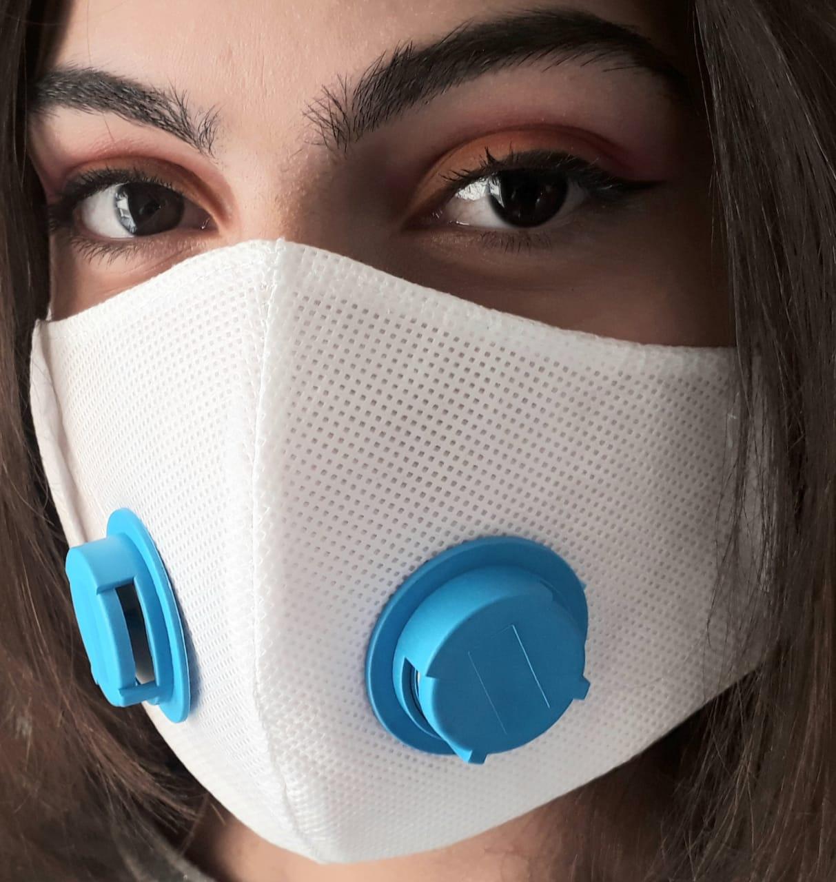 Kit 10 Máscaras Proteção TNT DUPLO COM RESPIRADOR PRETO