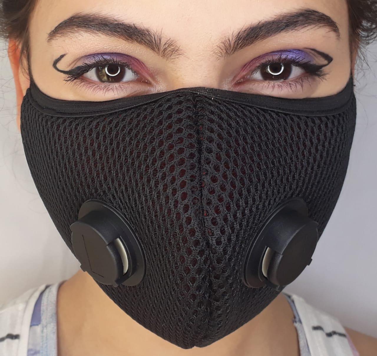 Mascara Com 2 Respiradores Velcro Atrás