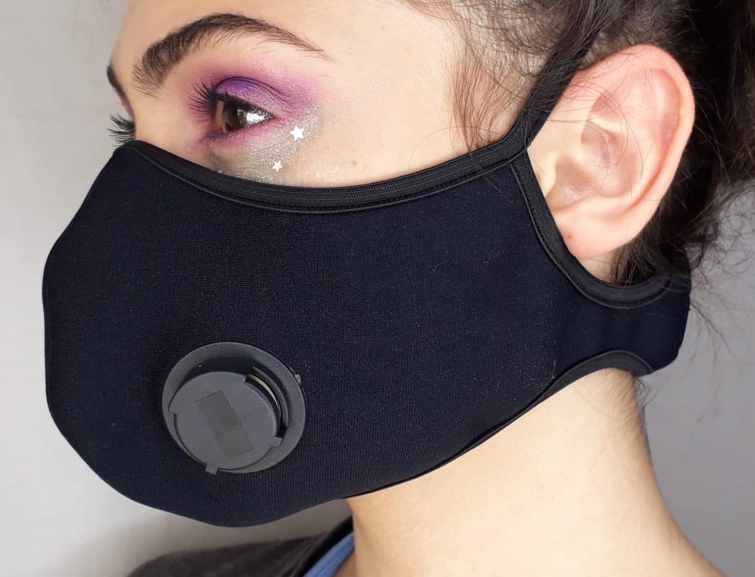Mascara De Neoprene Com 2 Respiradores Velcro Atrás