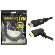 Cabo HDMI 2.0 Chip Sce 4k 3D Plug 90 Graus para Gamer