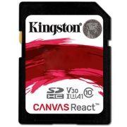 Cartão de Memória Kingston SD Canvas React U3 Classe 10 Ultra HD 4K 100MB/s – SDR