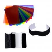 Filtro Colorido Gelatina 12 cores para Flash Speedlite Sou Foto FPC-FS12