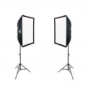 Iluminação Dupla para Gravar Vídeo com Softbox Universal 60x90, Soquetes ATEK e Tripés de 2m