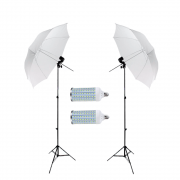 Iluminação para Estúdio Fotográfico com Sombrinhas Difusora Greika 84cm, Soquete E-27 e Lâmpadas de Led 60w