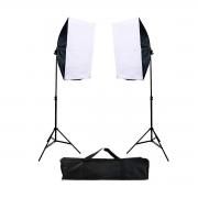Iluminação para Foto e Vídeo Newborn NB-1 Softbox 50x70cm com bocal quádruplo e tripé 2m