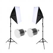 Iluminação para Gravação de Vídeo com Softbox Duplo 40x60cm e Lâmpada de Led 50w