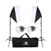 Iluminação para Gravação de Vídeo Completo com Softbox Duplo 40x60cm, Lâmpada 50w e Bolsa