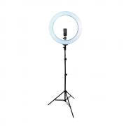 Kit com Iluminador de LED Ring Light 18 80W 48cm Diâmetro e Tripé de Iluminação 2m para Foto e Vídeo