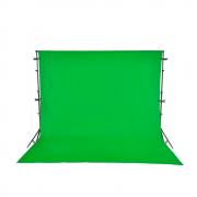 Kit com Suporte YS-300, Fundo Infinito Muslin Verde 3m x 5m Chroma Key e Grampos para Estúdios Fotográficos