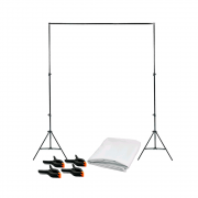 Kit Completo Fundo Fotográfico Branco 1,5m x 2m com Suporte SFI-243 + 4 Grampos