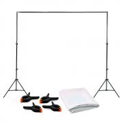 Kit Completo Fundo Fotográfico Branco Oxford 3m x 5m com Suporte 2,40m x 3m e 4 Grampos Sou Foto