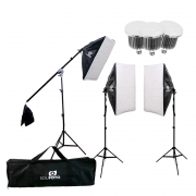 Kit Completo Iluminação para Foto e Vídeo com Softbox, Tripés 2m, Lâmpadas de 50w, Braço Girafa e Bolsa Sou Foto