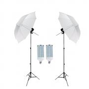 Kit de Iluminação Completo Sombrinhas Difusora Sou Foto 84cm com Soquete Simples E-27 e Lâmpadas de Led 60w