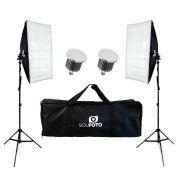 Kit de Iluminação Duplo com Softbox 50x70, Lâmpadas Led 50w e Bolsa Sou Foto para Estúdio Fotográfico