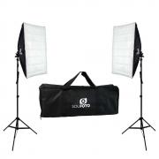 Kit de Iluminação Duplo com Softbox 50x70cm, Tripé de 2m e Bolsa Transporte Sou Foto para Estúdio Fotográfico