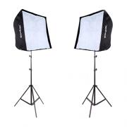 Kit de Iluminação Duplo Softbox Universal 60x60cm, Soquete Simples E-27 e Tripé 2m
