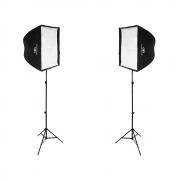 Kit de Iluminação Duplo Softbox Universal 90x90, Tripé de Iluminação e Suporte Holder para Flash