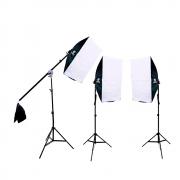 Kit de Iluminação Duplo Softbox Vareta 50x70cm com Tripés e Braço Girafa Sou Foto