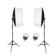 Kit de Iluminação Duplo Sou Foto com Softbox 50x70cm, Lâmpadas Led 50W e Tripé de 2m