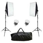 Kit de Iluminação Duplo Sou Foto com Softbox 50x70cm, Lâmpadas Led 50W, Tripé de 2m e Bolsa